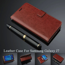 High Quality Soft Genuine Leather Wallet Bank Card Holder Flip Stand Mobile Phone Bumper Cover Case For Samsung Galaxy J7