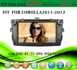 car dvd gps providers fit for Toyota corolla 2011 2012 with radio bluetooth gps tv pip dual zone