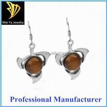 Wholesale 316l stainless steel agate women drop earrings