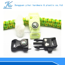Colorful side release whistle buckle/luminous fire starter scraper buckle/flint rod whistle buckle with compass