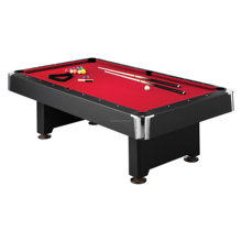7ft pool table with red cloth and zinc chrome corner