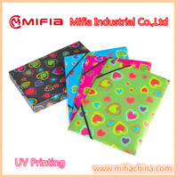 office stationery supplier hard plastic custom printed a4 pp document file folder with elastic bands