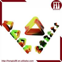 HT Implant Grade Silicone Rainbow Triangle Double Flared Saddle Plugs Flesh TunneI Flexible Ear Gauges Kits
