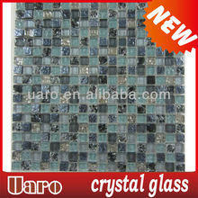 Home decoration 15mm galvanize crack blend crystal mosaic tile