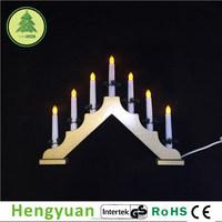 GS 7L C6 Golden Wooden Christmas Candle Bridge Light Decorations