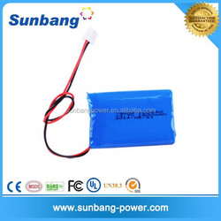 CE MSDS Rohs FCC approved rechargeable 103450 lipo 3.7v 1800mah battery with good price