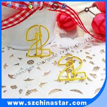 cute mini number shape plastic paper clip as school supply