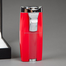 High Quality Modern Style Red Metal Material Dual Flame Gas Lighter for Cigar