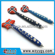 Fancy customized logo soft rubber promotional pen