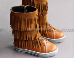 2015 hot selling PU winter children tassel booots with the cashmere and zipper Warm and slippery boots