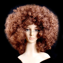 Wholesale brown color big afro curly synthetic hair cosplay wigs