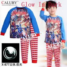 2015 new Avengers Boys Pajamas,Children's Glow in the dark underwear. Homewear