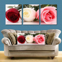 Free shipping 3 piece flower rose Huge Modern Canvas Painting Picture Decorative Living Room Paint Print Wall Hanging Large