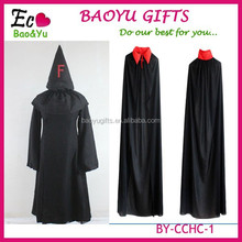 Halloween Black Death large party long black and red cloak hooded long black devil cloak