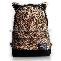 fashion lovely cat ear Leopard school bag for girls
