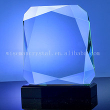 Octagon Edge Cutting Blank Jade Glass Awards Trophy with Black Base