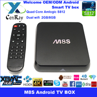 Factory Supply XBMC Kodi Pre-installed M8S Android TV Box Amlogic S812 Quad Core 2.0GHz 2G Ram 8G Flash HD Kodi15.1 Set Top Box