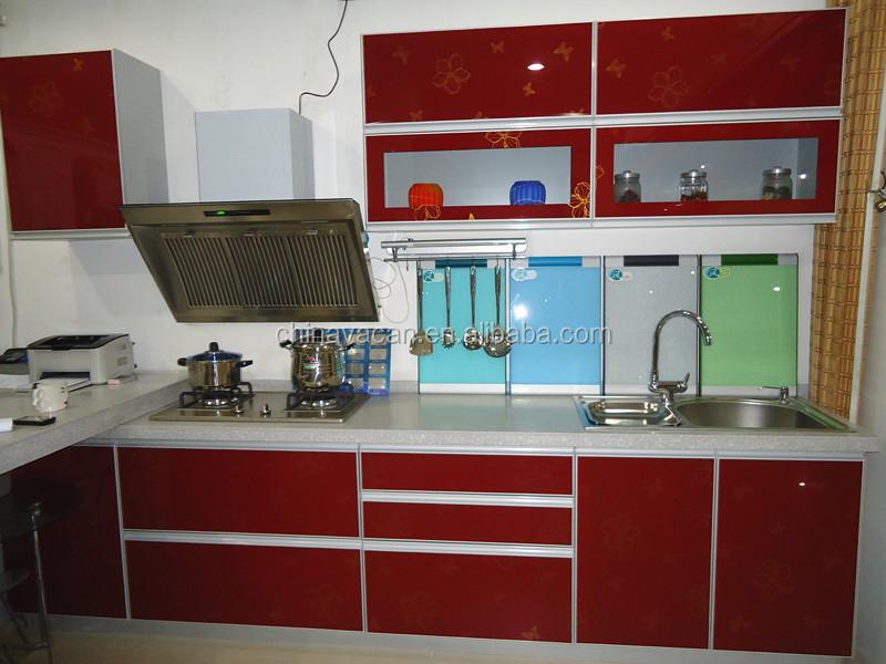 Alto brillo rojo mueble cocina con puertas de vidrio templado ...