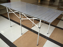 Aluminum Roll Slatted Top Foldable Camping Garden Outdoor Table