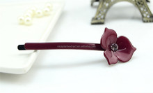 New charming single flower acetate hair bobby pin fancy simple hairpin for teen girls