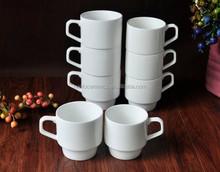8oz High Temperature Plain White porcelain stackable Mug with Handle for Wholesale