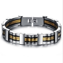 Men's fashionable unique black silicone & stainless steel bracelet 2015