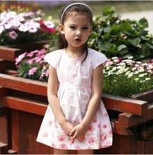 New short sleeve red flower design pure cotton dress
