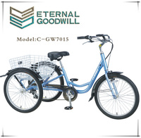 24 inch 7 speeds richshaw tricycle for family used with folding basket GW 7015