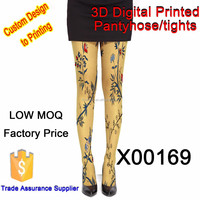 leaves and red flowers personality good quality fashion tube stocking sexy Japanese pantyhose