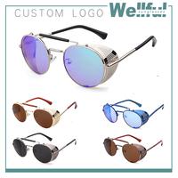 2015 offer print logo iron man style vintage steampunk sunglasses metal frame sun glass