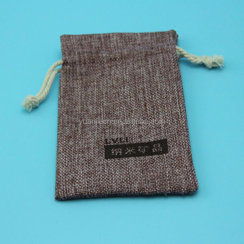 Plain custom printed small jute drawstring fabric magazine pouch
