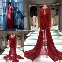 Mais recente 2014 v- pescoço manga comprida ver através de renda sexy vestido/longo comboio laço vermelho prom vestidos de noite