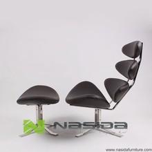 ch143 réplica de color marrón de cuero completo paul volther corona silla de salón