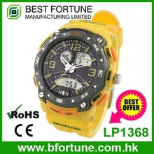 LP1368 Stylish design 3 ATM water resistant stainless steel case back ana digi PU casual watch