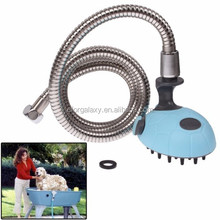Cute Multifunctional Pet Shower Bath Sprayer Hold Shampoo with Massage (Blue)