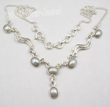 925 Sterling Silver PEARL VINTAGE STYLE Necklace 17 1/4 Inches BIRTHDAY PRESENT