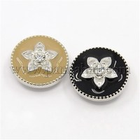 Alloy Enamel Rhinestone Buttons, Flat Round Carved Flower Jeans Snap Buttons BUTT-F001-43