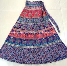 Indian wrap alrededor de las faldas sarong estilo tribal floral impresiones de algodón