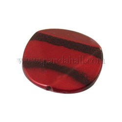 Crackle Acrylic Beads, Flat Round, Red, Size: about 27mm in diameter, 5mm thick, hole: 1.5mm, about 185pcs/500g