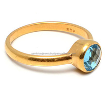 Sterling Silver Hot Sale Jewelry Blue Topaz Gemstone Gold Plated Round Faceted Handmade Ring