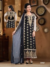 Designer party wear heavy pure viscose & embroidery black & white straight long cut salwar kameez with fancy dupatta