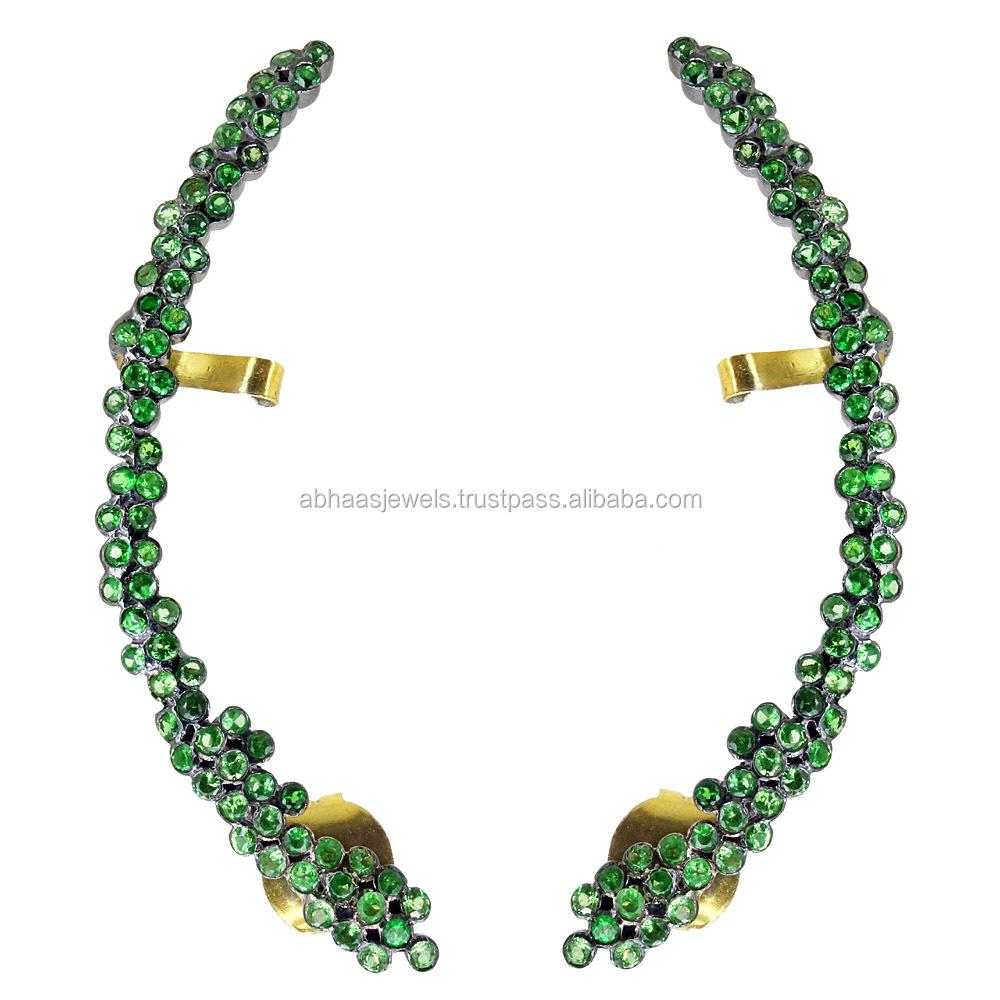 Ruby Emerald Gemstone  Sterling Silver Fashion Stud Earrings For