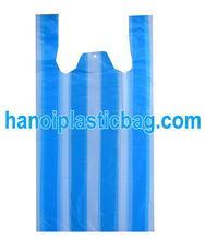 STRIPE BLUE/ WHITE HDPE T SHIRT PLASTIC BAG AT LOW COST IN VIETNAM