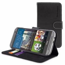 Snugg case for HTC One M9 Case - Leather Flip Case with Lifetime Guarantee (Black) for HTC One M9