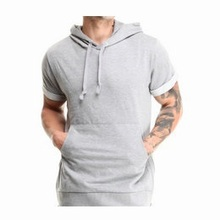 Free sample 100% cotton pullover men black hoodie