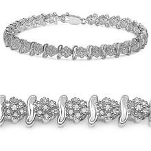 14K White Gold Plated 1.80 Carat Genuine Diamond .925 Sterling Silver Bracelet