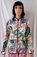 Indian Reversible Cotton Block Printed Kantha Jacket / Kantha Stitch Coat Women