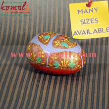 Paper Mache (Papier Mache) Hand Painted Egg Shaped Trinket Boxes - custom design and painting pattern