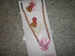 eco friendly fashion pink flower terracotta jewellery costume jewellery made of clay art jewellery special set gb509815