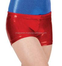 New Red Metallic shine Girls dance shorts